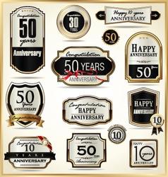Anniversary luxury labels vector image