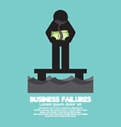 Banknote Hang On Mans Neck Business Failures vector image vector image