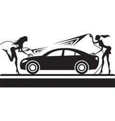 Car wash with fashion models vector image