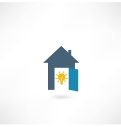 house with a light bulb icon vector image vector image