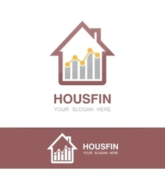 logo combination of a graph and house vector image
