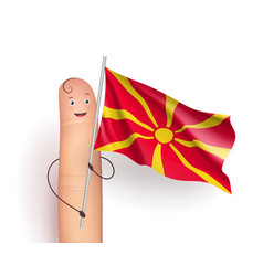 macedonia flag at finger man vector image vector image