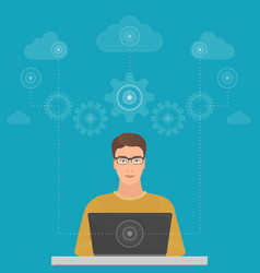 man big data software engineer programmer with vector image