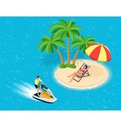 Young Man on Jet Ski Tropical Ocean Creative vector image