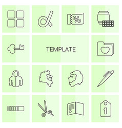 14 template icons vector image