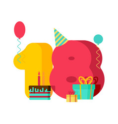 18 year birthday sign 18th template greeting card vector