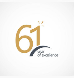 61 year excellence template design vector image