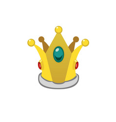 A isolated cartoon golden crown vector