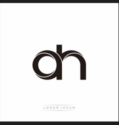 Ah initial letter split lowercase modern monogram vector