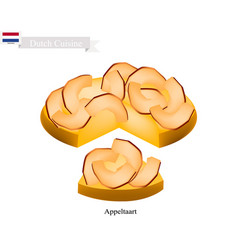Appeltaart or apple pie a famous dish of netherla vector