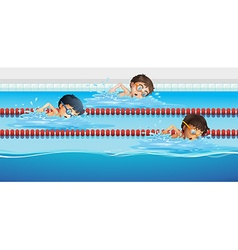Athletes swimming in the pool vector