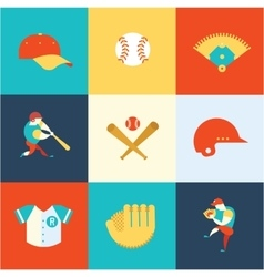 Baseball flat icons vector