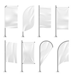 beach flag template banner mockup white flags vector image