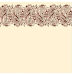 Beige background with horizontal seamless border vector