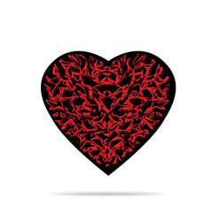 Black heart with red pattern and shadow vector