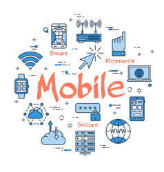 blue round mobile concept vector image