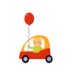 Boy driving car cartoon vector