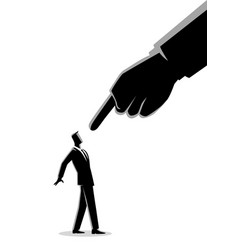 Businessman being pointed giant finger vector