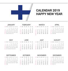 Calendar 2019 finland flag background english vector