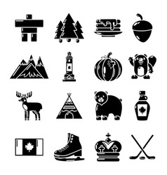 Canada travel icons set simple style vector