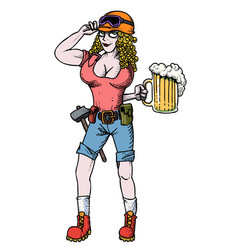 Cartoon image of hard working woman with beer vector