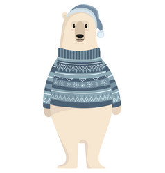 Cartoon polar bear cute polar bear in a sweater vector