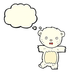 cartoon shocked polar bear cub with thought bubble vector image