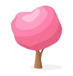 Cartoon tree with pink crown isolated vector