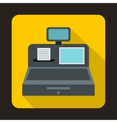 Cash register with cash drawer icon flat style vector