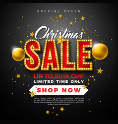 christmas sale design with ornamental ball and vector image