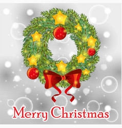 christmas wreath with bow balls and ribbons vector image