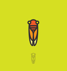 Cicada flat logo linear icon insect vector