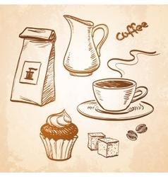 Coffee sketch set vector image