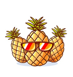 colorful yellow hipster pineapples with s vector image