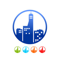 Commercial urban building silhouette circle icon vector