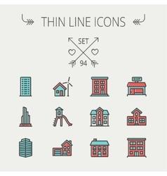 Construction thin line icon set vector image