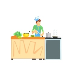 Cooking contest male participant vector