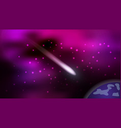 Cosmos background with flying comet mysterious vector