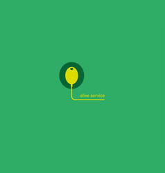 Creative geometric logo computer mouse and olive vector