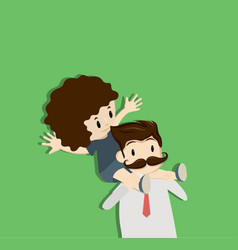 dad carries daughter on shoulders vector image
