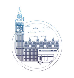 Degraded line london clock tower and urban bus vector