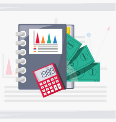 documents calculator and bill investment concept vector image