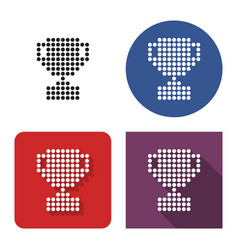 dotted icon winner trophy cup in four variants vector image