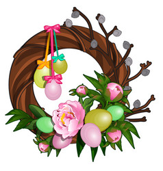 easter wreath with colorful eggs and pink peonies vector image