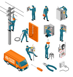 Electrician isometric icons collection vector