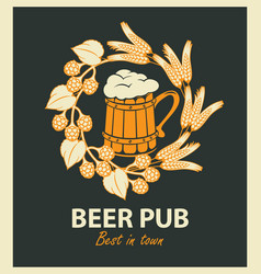 Emblem for beer pub with beer mug and wreath vector