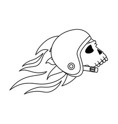 Extreme skull with helmet and flames vector