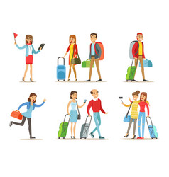 flat set of people with travel bags vector image