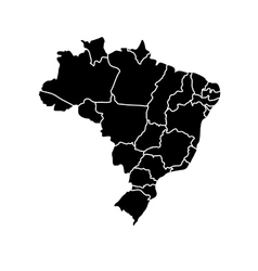 Flat simple Brazil map vector