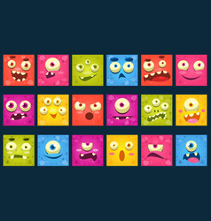 funny colorful square face of monsters with vector image